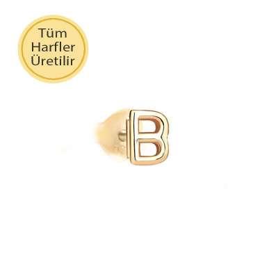 14 Ayar Altın B Harfli Küpe - Thumbnail