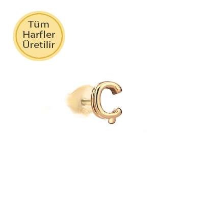 14 Ayar Altın Ç Harfli Küpe - Thumbnail