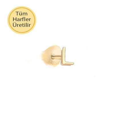 14 Ayar Altın L Harfli Küpe - Thumbnail