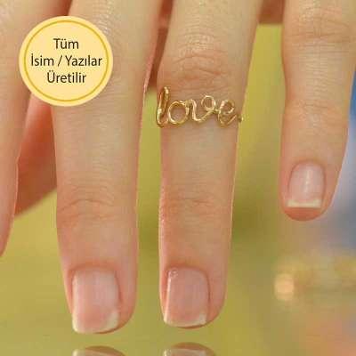 14 Ayar Altın Love Yüzük - Thumbnail