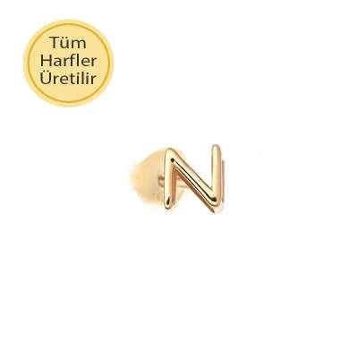 14 Ayar Altın N Harfli Küpe - Thumbnail