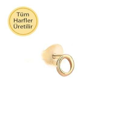 14 Ayar Altın O Harfli Küpe - Thumbnail