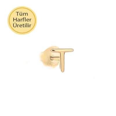 14 Ayar Altın T Harfli Küpe - Thumbnail