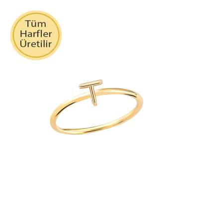 14 Ayar Altın T Harfli Yüzük - Thumbnail