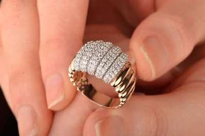 14 Ayar Altın Taşlı İstiridye Yüzük - Thumbnail