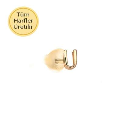 14 Ayar Altın U Harfli Küpe - Thumbnail