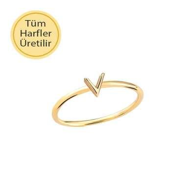 14 Ayar Altın V Harfli Yüzük - Thumbnail