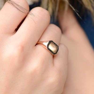 14k Altın Oniks Taşlı Şovalye Yüzük - Thumbnail