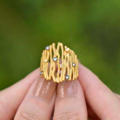 22 Ayar Altın Pırlantalı Yüzük - Thumbnail